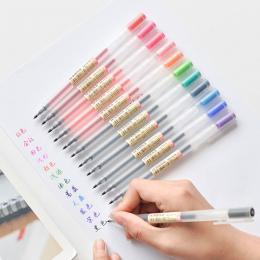 12 sztuk/partia Kreatywny 12 Kolory Żel Pióra 0.5mm Kolor Tusz Marker Długopisy Pisanie Biurowe Stylu MUJI Szkoła Biurowy prezen