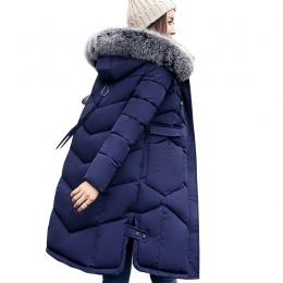 2018 zima kobiety płaszcz z kapturem futra kołnierz zagęścić ciepłe długa kurtka kobiet plus size 3XL kurtki parka panie chaquet