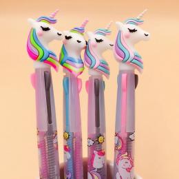 Śliczne Nowość 3/6/10 Kolory Unicorn Długopis Krzemionkowy Rainbow Kawaii Cartoon Długopis Dla Dzieci Prezent kreatywny Materiał