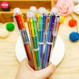 Wielokolorowy Długopis Wielofunkcyjny 6 Kolory Pióro Kreatywne Papiernicze Szkolne Chancery Biurowe Wspierania Dostosowywania