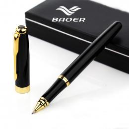 W całości z Metalu Baoer 388 roller długopis 0.5mm Średni refill Złota Klip Czarny/Sliver/Matowy rollerball biurowe pióro Biznes