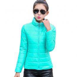 2018 kobiet kurtka zimowa ultra light cukierki kolor wiosny kobiet krótki żakiet kurtka bawełna odzieży wierzchniej jaqueta femi