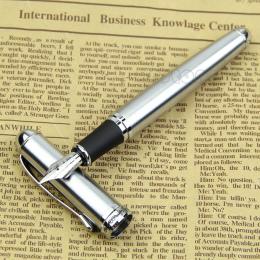 Luksusowe Marki Jinhao X750 Srebrny Stal nierdzewna Nazwa Atrament Pióro 18KGP Średni Stalówka Szkoła Biurowe Prezent Piśmiennic