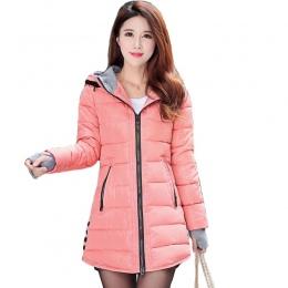 2018 kobiet zimy z kapturem ciepły płaszcz plus size cukierki kolor bawełny wyściełane kurtki kobiet długi parka kobiet watowe j