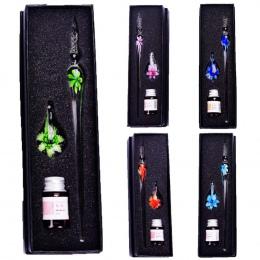 Oszczędny Handmade Szkło Długopisy Kwiat Wzór Przezroczyste Pióro Prezent Zestaw Kolorów Kolor Tuszu Test Wody Znak Kreda Flash