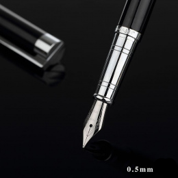 Jinhao Klasyczny Czarny i Srebrny Pióro z 0.5mm Iridium Nib Najlepszy Biznes Prezent Metalowe Pióro Atrament Długopisy Darmowe w