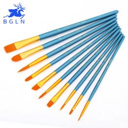 BGLN 10 sztuk/zestaw Akwarela Farba Gwasz Szczotki Inny Kształt Okrągły Wskazał Wskazówka Nylon Włosów Malowanie Pędzlem Zestaw