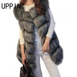 Wysokiej jakości Futra Kamizelka płaszcz Luksusowe Faux Fox Ciepłe Kobiety Płaszcz Kamizelki Moda Zima futra damskie Płaszcze Ku