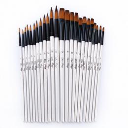 12/24 sztuk Nylon Włosy Drewniany Uchwyt Akwarela Farby Brush Pen Zestaw do Nauki Olej Akryl Malarstwo Art Farby szczotki Dostaw
