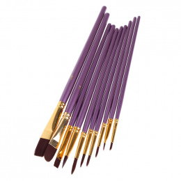 10 Sztuk Fioletowy Pędzel Artysty Zestaw szczotki Nylonowe Włosy Obraz Olejny Akwarela Akrylowe Pędzle Rysunek Sztuka Supplie