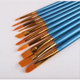 10 Sztuk/zestaw Akwarela Gwasz Szczotki Inny Kształt Okrągły Wskazał Wskazówka Nylon Hair Brush Malarstwo Zestaw Dostaw Sztuki