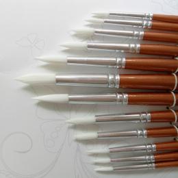 12 Sztuk/partia Okrągły Kształt Nylon Hair Drewnianą Rączką Paint Brush Zestaw Narzędzi Dla Sztuki Akwarela Malarstwo Akrylowe M