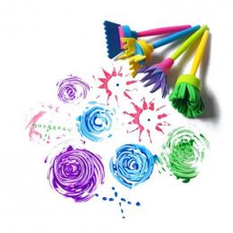 4 sztuk/zestaw Obrócić Wirowania Gąbka Pędzla Farba Dzieci Dzieci Flower Graffiti Art Malarstwo Rysunek Zabawki Narzędzia Szkoła