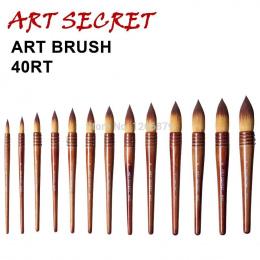 40RT wysokiej jakości taklon włosów drewniany uchwyt sztuki Malowania Malarstwo akwarela Szczotki dla artystyczne rysunek