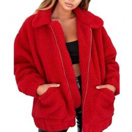 Nowy Lapel Bluza Polar Futro 2018 Kobiet Jesień Zima Ciepłe Miękkie Grube Pluszowe Zamek Płaszcz Krótki Odzieży 6Q0415