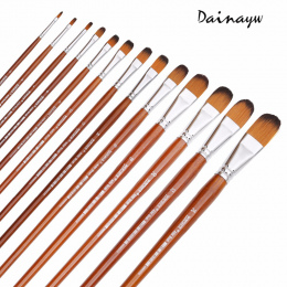 13 Sztuk Leszczyna Artysta szczotki Nylonowe Włosy Akrylowe Malarstwo Akwarela Pędzla Brush Set Długim Uchwytem Szkoła Rysunek N