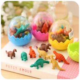7 sztuk/zestaw Mini Rubber Eraser Śliczne Dinosaur Egg Gumka Pudełko Szkoła Papiernicze Biurowe Losowy Kolor 5*4 cm