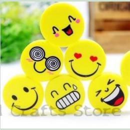 (4 sztuk/zestaw) Emoji Gumka Emocje Kawaii Gumka Ołówek Nowość Papiernicze Szkolne Kawaii Materiał Cute Gumki Hot