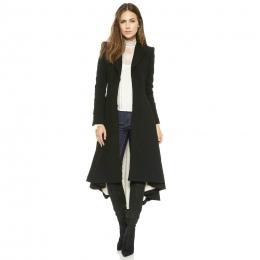 Jesień Zima Kobiety Swallowtail Wełniany Długie Czarne Wykop Trapezowy Szczupła Blazer Dress 4XL 5XL Plus Size Goth Trench Znosi
