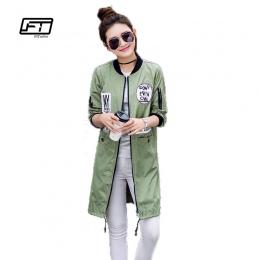 Fitaylor Nowa Jesienna Kobiety Długi Wiatrówka Trench Coats Plus Rozmiar Wydruku List Emboridery Moda Uliczna Baseball Casual Zn
