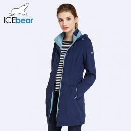 ICEbear 2018 Kobiet Płaszcz Wysoka Jakość Jesień I Wiosna Długi Trencz Dla Kobiet Wiatrówka Hat Odpinany 17G116D