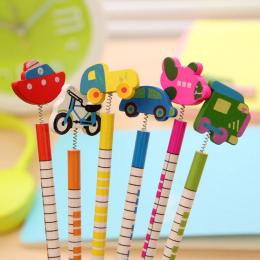 6 Sztuk/paczka, nowy Gorący Sprzedaje Ręcznie Drewniane Ołówki Ołówek Cartoon Pojazdów Kreatywny Tendencja Papeterii Dzieci Stud