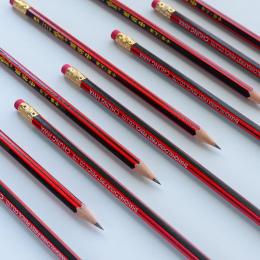 10 sztuk/partia Czerwony drewniane ołówki HB ołówek z gumką głowy Mirui Piśmienne
