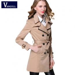 Vangull 2017 new fashion designer marki klasyczny europejski trencz khaki czarny pokój łuszcz kobiety pea coat real zdjęcia