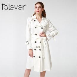 Talever Jesień Zima Trencz dla Kobiet Regulowany Talia Szczupła Stałe Czarny Płaszcz Biały Długi Wykop Kobiet Odzieży Wierzchnie