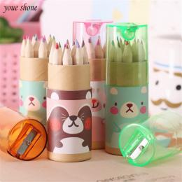 12 sztuk/pudło mini kredki ołówki kreatywny papeterii cute niedźwiedź ołówki do szkoły dziewczyna chłopak Kolorowe kredki