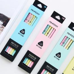 12 sztuk/partia 5 kolor czarny i pastelowe ołówki ołówek Drewna Standardowe 2B Macaron do rysowania Stationery Office szkolne 61