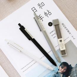 JIANWU 3 sztuk 0.7mm 0.5mm MUJI STYL Proste moda automatyczny ołówek uczeń typu naciśnij ruchomy ołówek materiały Studenckie