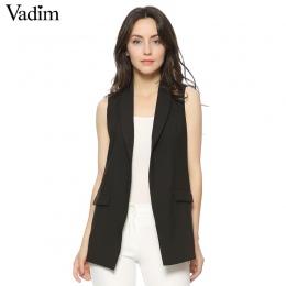 Kobiety Moda elegancka pani urząd kieszeni kamizelki bez rękawów kurtka znosić casual marka Kamizelka colete feminino MJ73