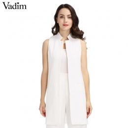 Kobiety biały czarny długa kamizelka płaszcz Europen styl kamizelka bez rękawów kurtka powrót podział znosić dorywczo góry Roupa
