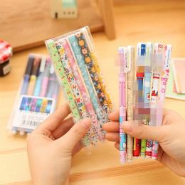 6 sztuk/zestaw Kreatywne Kolorowe Pióra Koloru Kwiatu Długopis Żelowy Cartoon Zwierząt 0.38mm Długopis Piśmiennicze Biuro Szkoln