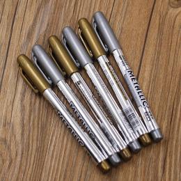 1 sztuk DIY Metal Wodoodporna Farba Marker Permanentny Sharpie Długopisy Złota I Srebra 1.5mm Materiały Studenckie Rękodzieło Ma