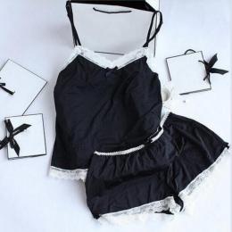 Kobiety Piżamy Sexy Koronki Jedwabiu Piżamy Ustaw Bielizna Ubrania Dla Kobiet Czarne Pasy Panie Piżama Szlafrok Bielizna Nocna P