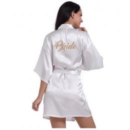 Fashio RB71 Bridal Party Szata List Panna Młoda na Robe powrót Kobiety Krótkie Satynowe Ślubne Szaty Kimono Piżamy Spa dla panie