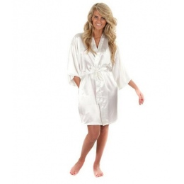 Kobiety Silk Satin Krótki Noc Szata Jednolity Kimono Robe Szlafrok Sexy Szlafrok Peignoir Femme Mody Ślubu Panna Młoda Druhna Sz