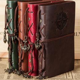 2018 Spirali Notebooka Pamiętnik Notatnik Vintage Pirate Kotwy PU Skóra Książki Notatki Wymienne Biurowe Prezent Podróżnik Journ