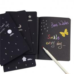Nowy Sketchbook Pamiętnik dla Rysunek Malowanie Graffiti Miękka Okładka Czarny Papier Szkic Książki Notebooka Szkoły Dostaw Prez