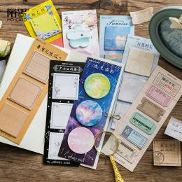 1 Zestaw iary Podkładki Memo Sticky Notes Notatnik Kawaii Vintage Diy Papieru Naklejki Scrapbooking Biurowe Szkoła biurowe Zakła
