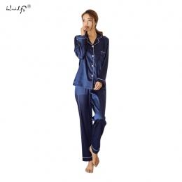 Kobiet Silk Satin Piżamy Piżamy Zestaw Z Długim Rękawem Piżamy Piżama Piżamy Garnitur Kobiet Snu Dwuczęściowy Zestaw Loungewear