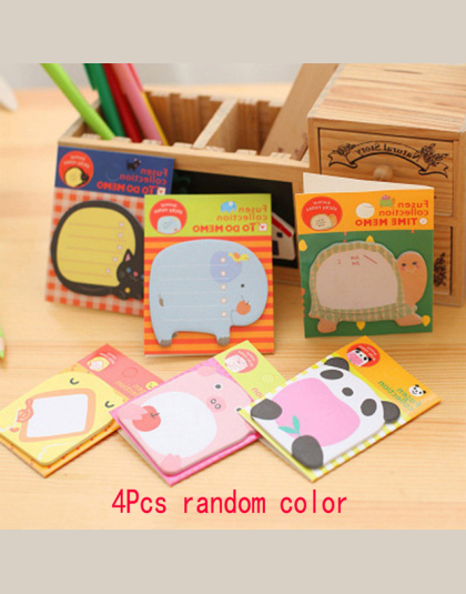 4 Sztuk/partia Cartoon zwierząt memo pad notatnik kawaii papieru karteczek post it papeleria papeteria szkolne