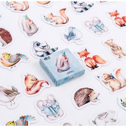 40 sztuk/pudło Forest Animals Podkładki Memo Naklejki Opakowanie Post It Kawaii Planner Scrapbooking Lepkie Piśmienne Escolar Sz