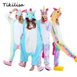 Tikilisa Marki Dorosłych Zwierząt Piżama Ustawia Cartoon Bielizna Nocna Cosplay Zipper Kobiety Mężczyźni Zimowe Unisex Flanelowe