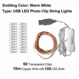 Świecące paski LED z klamerkami do zdjęć. Dekoracja wnętrz na ślub wesele do baru restauracji