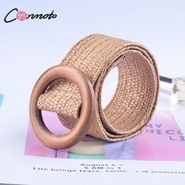 Conmoto drewniany przycisk pas dla kobiet elastyczny słomy pasek dekoracyjny dla pasek do garnituru na co dzień pas kobiet akces