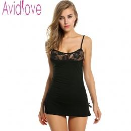 Avidlove Kobiety Sexy Koronki Koszula Nocna Bawełna Koszula Nocna Stretch Mini Suknia Piżamy Seksowna Bielizna Plus Rozmiar Biel