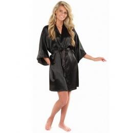New Black Chińskich damska Faux Jedwabne Szaty Wanna Suknia Hot Sprzedaż Kimono Yukata Szlafrok Solid Color Piżamy Sml XL XXL NB